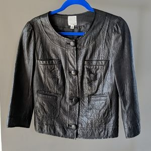 Halogen black leather jacket M